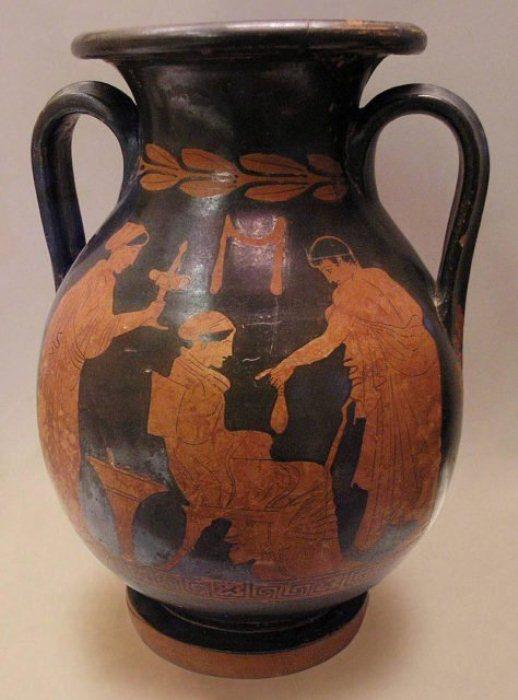 Краснофигурная пелика вазописца Полигнота. Юноша рассчитывается с гетерой. Ок. 430 г. до н. э.